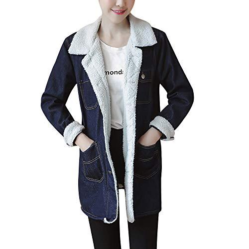 Toasye Ausverkauf Frauen Winter Langarm Button Jeansjacke, Damen Einfarbig Mantel Lässig Oberbekleidung Mit Tasche
