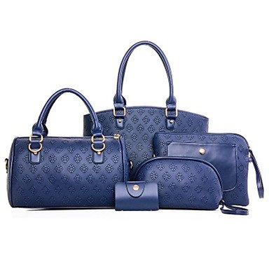Frauen Tote PU All Seasons and Office & Karriere Rechteck Reißverschluss Rot Schwarz Gold Blau Blue
