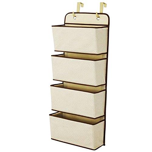 Gosear Einfache Haushalts 4 Pocket Hängen Wand Schrank Speicher Tasche Veranstalter Über Tür Gelb