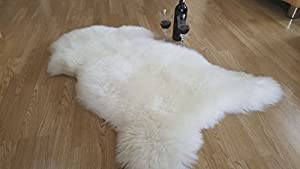 , Luxury, XL 100% Genuine White Extra Large Sheepskin Rug with Extra Thick Wool by Amazinggirl