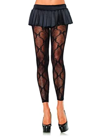 Bow Lace Footless Tights in Black
