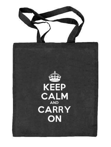 Shirtstreet24, Keep Calm and Carry On, Stoffbeutel Jute Tasche (ONE SIZE) schwarz natur