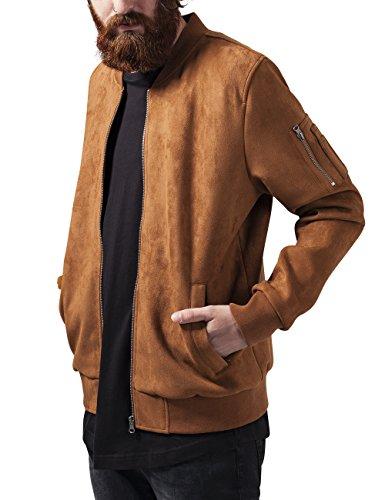 Urban Classics Herren Jacke Imitation Suede Bomber Jacket, Braun (Toffee 786), Medium