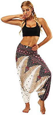 Zegeey Women's Casual Loose Yoga Trousers Baggy Boho Aladdin Jumpsuit Harem Pants Yoga Pants With Neck Hea