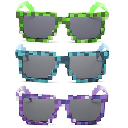 kilofly Sonnenbrille, 8 Bit-Pixel, UV-Schutz, für Erwachsene und Kinder, 3 Stück Gr. Einheitsgröße, Blue + Green + Purple (Minecraft Kostüm Haut)