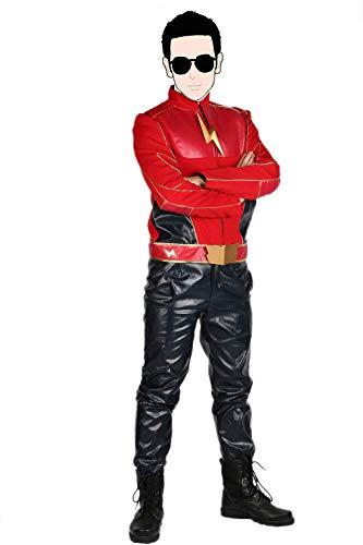 Kostüm Flash Kinder Deluxe - Pandacos Jay Garrick Kostüm aus The Flash Cosplay Costume Deluxe Lederjacke Film Zubehör für Karneval und Fasching
