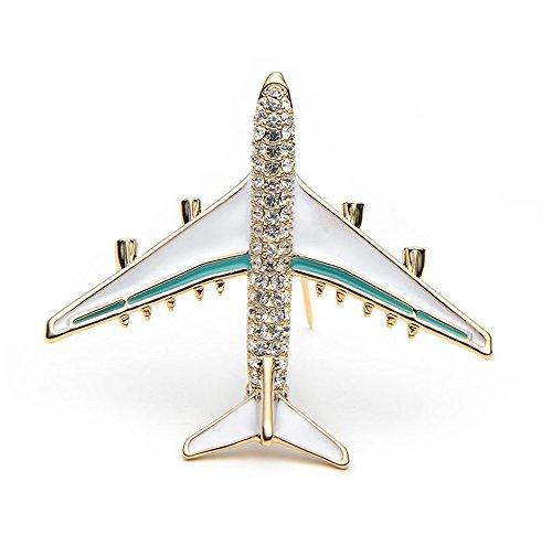 Mmrm Strass Flugzeug Modell Brosche Corsage Pin Schmuck Kleidung Anzug Business Kleidung Dekor Blau