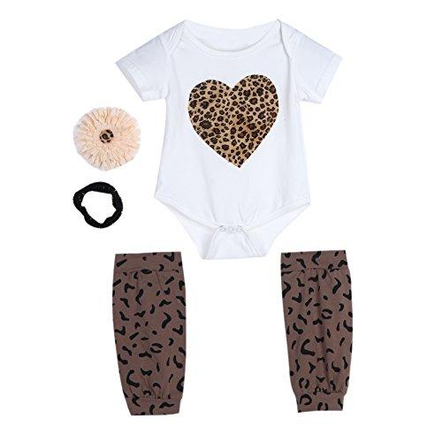 Baby Infant Kinder Leopard Herz Print Strampelanzug Corsage Haarband Socken Outfit
