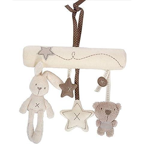 moonnot Baby Cute Musica peluche attività culla passeggino peluche coniglio da appendere a forma di stella - Bambino 4 Pezzo Presepe