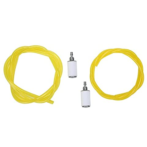 niceEshop(TM) Carburetor 2 Sizes Fuel Line and 2pcs Replace Fuel Filter for Lawn Mower Chainsaw Blower,White+Yellow