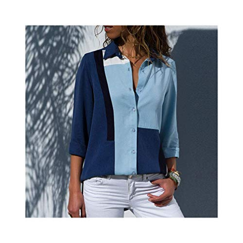 Women Long Sleeve Lapel Print Shirt Office Chiffon Blouse Casual Striped Tops Plus Size - Cowl Neck Cream