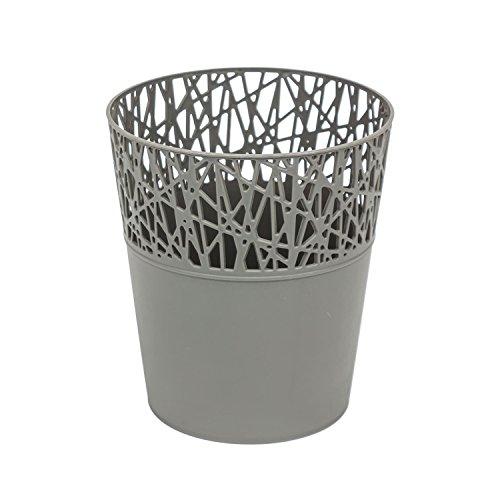 Rond cache-pot 16 cm CITY en plastique romantique style en gris
