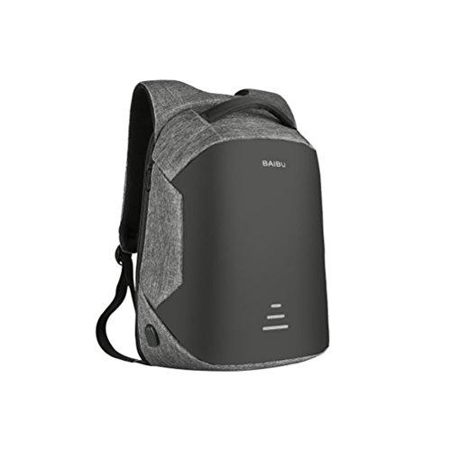 Preisvergleich Produktbild LEDMOMO Laptop-Rucksack Notebook-Rucksack Diebstahl-Wasser-Geschäftsreise-Rucksack mit USB-Ladeanschluss Laptop-Rucksack mit großer Kapazität für Schulausflüge (grau)