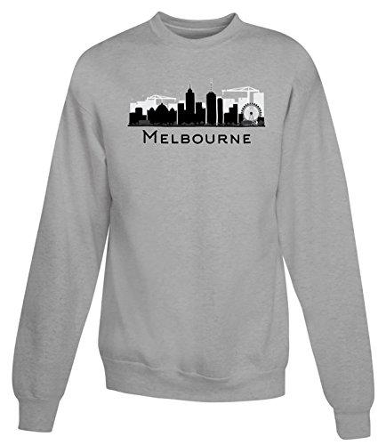 Billion Group | Melbourne Skyline Black And White | City Collection | Women's Unisex Sweatshirt Gris