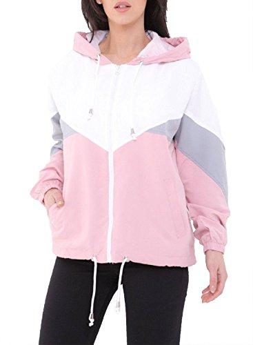 Islander Fashions Damen Langarm Color Block Jacke Womens Fancy Windbreaker Kapuzenmantel Top Pink Small (Ladys-jacken Pink)