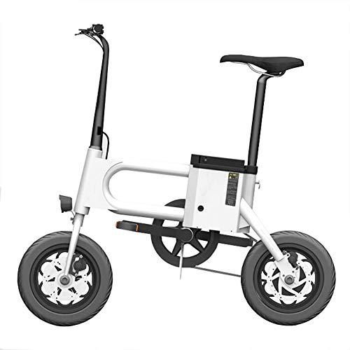 Y&WY Bicicletta Elettrica,Bicicletta A Pedalata Assistita Pieghevole E-Bike Batteria agli Rimovibile Motore 350 W, velocità Max 25 Km/H,White,Battery~7.5Ah