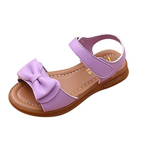 Zapatos Niña,Sandalias de bowknot para niñas pequeñas Calzado casual de princesa antideslizante para niños LMMVP (32(EU), Púrpura)