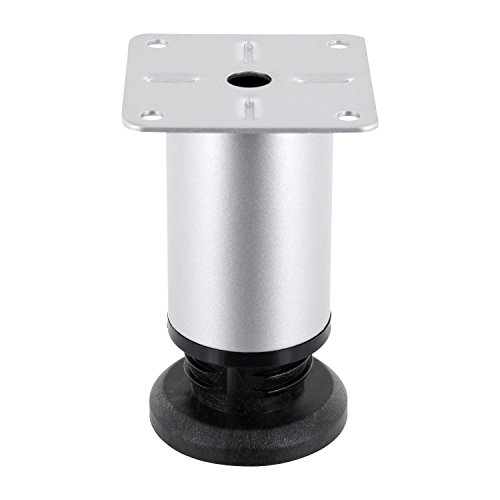 GedoTec Möbelfuß höhenverstellbar LENA aus Metall | Höhe 200 mm | Chrom matt | Schrank-Füße mit Höheneinstellung + 20 mm | Sockelfüße mit Aufschraubplatte | Markenqualität für Ihren Wohnbereich