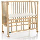 fillikid Beistellbett Cocon 40x90 cm - Babybett zum Beistellen - mobiles Stubenbett auf Rollen - Baby-Bettchen aus Buchenholz - natur