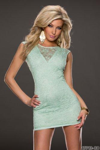 5858 Fashion4Young mini-robe sans manches pour femme en dentelle disponible en 3 couleurs 3 formats Vert - Vert clair