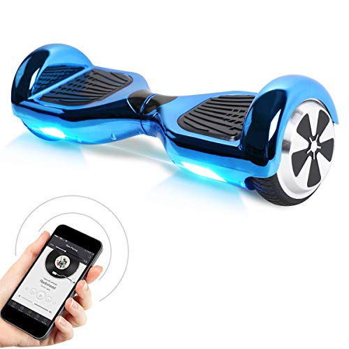 "Kategorie <b>Zweirad E-Board (Hoverboard) </b> - Windgoo Hoverboard, 6.5"" Self Balance Scooter mit Bluetooth Lautsprecher, LED Lights Elektro Scooter E-Skateboard (Chrome Blue)"