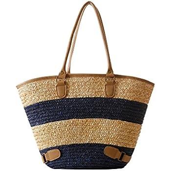 fairysan solides de haute qualité à rayures Panier de Shopping/plage tressé à Simplism et élégant sac bandoulière paille ROrhqgl