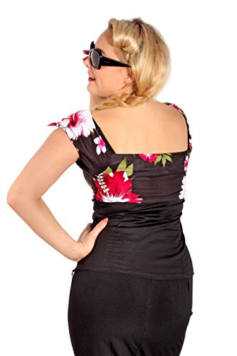 Hawaii rockabilly Hibiskus Blüten Carmen Kokosnuss Puffärmel Shirt TOP -