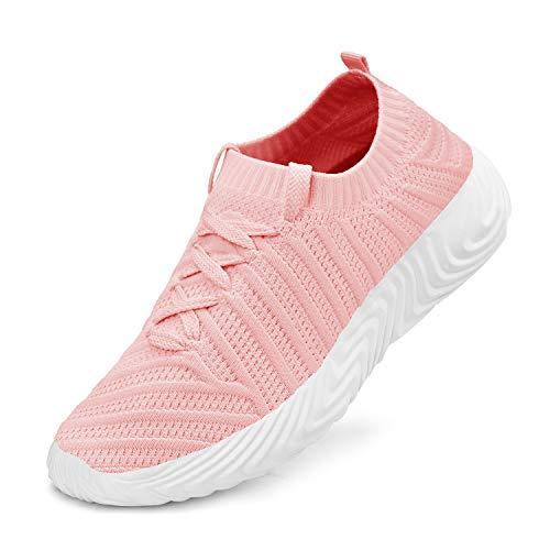 ZOCAVIA Turnschuhe Damen Laufschuhe Atmungsaktiv Sportschuhe Wanderschuhe Leichte Mesh-Bequeme Schuhe, Rosa, 39 EU