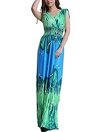 Wantdo Femme Robe de Plage Longue Maxi Florale Imprimée Bohème Grande Taille Été