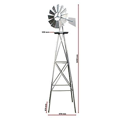US Windrad 245cm Silber Windmühle Windspiel Kugellager Mühle von WilTec auf Du und dein Garten