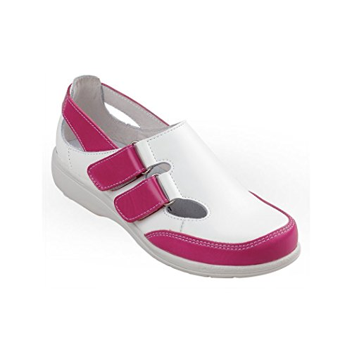 Cannes - Chaussure en cuir pour femme, sans embout ISO EN 20347 BLANC/FRAMBOISE