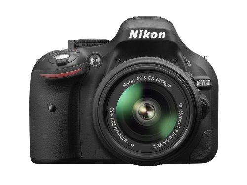 "Nikon D5200 Nikkor 18/55 VR II Fotocamera Reflex Digitale, 24.1 Megapixel, LCD HD 3"" Regolabile, Nero [Versione EU]"