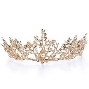 Czemo Prinzessin Diadem Hochzeit Tiara Rosegold Strass Barocke Königin Krone für Hochzeit, Festzüge, Party (#1)