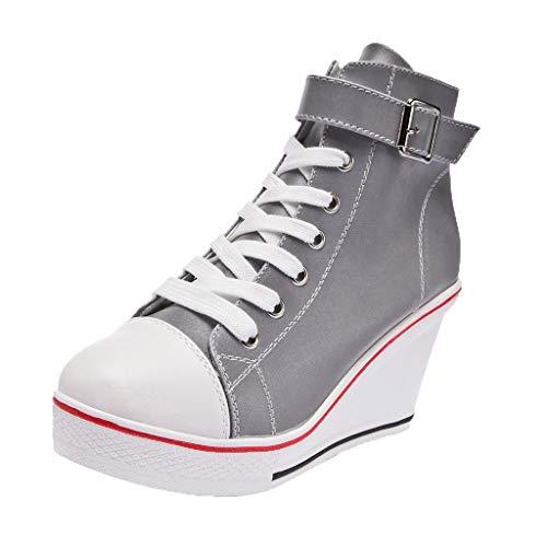 ZEELIY Damen Wedges Schuhe Hohe Keilabsatz Hohe Absatz Slip On Wildleder Loafers Wedges Ankle Boots Casual Illuminate Schuhe Bequeme(39,Weiß)