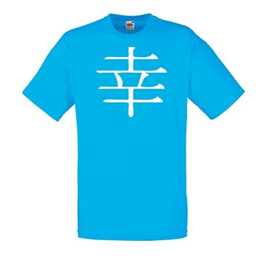 lepni.me Männer T-Shirt Glücklogogram - Chinesisches/Japanisches Kanji-Symbol (Large Blau Weiß) (Es T-shirt Chinesen Lieben)