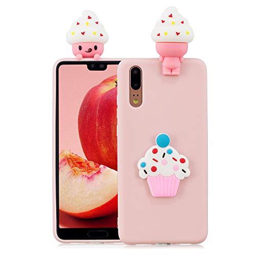 CESTOR Silikon Hülle für Huawei P20 Pro,Mode Niedlich 3D Eiscreme Muster Ultra Slim Weich Flexibel Gel TPU Hülle,Anti-Kratzer Gummi Bumper Rückseite HandyHülle für Huawei P20 Pro