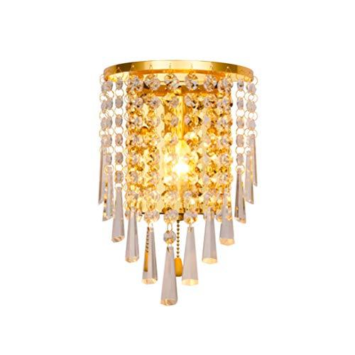 Wandlampe LED Vintage Modern Design mit Zugschalter Kristall Wandleuchte Gold Einfache Wandspot Edison Innen Jugendstil Wandbeleuchtung Eisen Rund Wand dem Flur Gang Schlafzimmer lampen(B 1-flammig) -