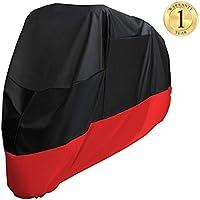 Favoto Funda para Moto 190T Cubierta de Motocicleta Protector Poliéster Resistente al Agua a Prueba de UV Lluvia Polvo Viento Nieve Excremento de Pájaro XXL 245cm Negro Rojo