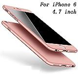Coque iPhone 6S Coque iPhone 6 360 Protection PC 3 en 1 Full Cover Adamark Housse Integrale Bumper Etui Case Protège Écran en Verre Trempé Pour iPhone 6S/6 (Or Rose)