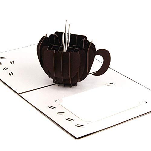 Handgemachtes Schnitzendes Schwarzes Kaffeetasse-Papier-Einladungs-Gruß-Karten-Postkarten-Geschäfts-Geburtstagsfeier-Kreatives Geschenk 3D