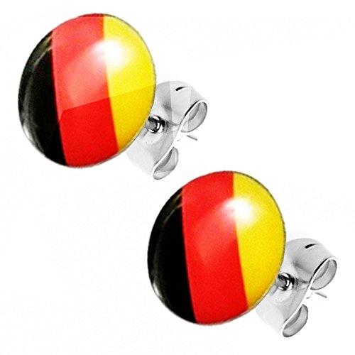 Piersando Ohrstecker Ohrringe Fahne Fussball EM & WM Länderflagge Fanartikel Land Flagge Schmuck Herren Damen Deutschland Schwarz Rot Gold