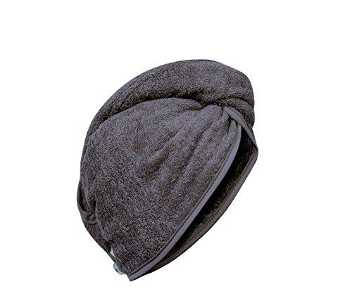 Carenesse Haarturban anthrazit grau, 100% saugstarke Baumwolle, Aufsetzen – Einwickeln - Festknöpfen - Stabiler Halt, Kopf Handtuch, Haar-Turban, Haar Turban, Kopfhandtuch, Haartrockentuch, Handtuch für Haare
