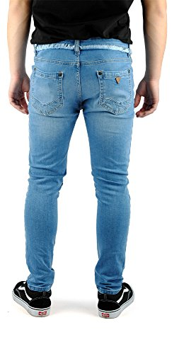 FiveSix Herren Used-Look Slim-Fit Denim Destroyed-Look Bikerjeans Zerrissen Löcher Skinny Jeans Hose mit Stretch Blau