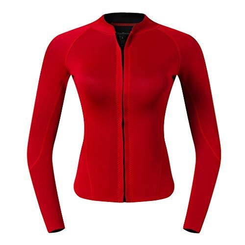 Baoblaze Damen Neopren Jacke Wassersport Neoprennazug Jacke Schwimmanzug UV-Schutz Badeanzug Top - rot, XL