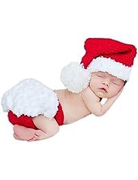 HAPPY ELEMENTS Bebé recién nacido apoyo de la fotografía del traje de navidad lindo sombrero tejido a ganchillo Trajes Set (juego de dos piezas)