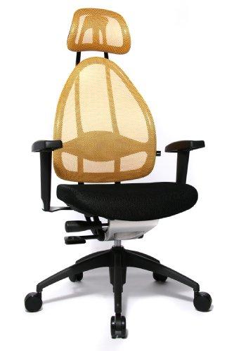 Topstar Open Art 2010 ergonomischer Bürostuhl, Schreibtischstuhl, inkl. höhenverstellbare Armlehnen, Rückenlehne und Kopfstütze, Stoff schwarz / gelb