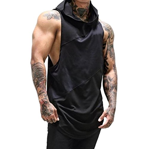 ESAILQ Mens Top Shirt Blouse Fitness Muscle Mesh Hoodie Sleeveless Singlet Tank Designer XXXXL XXXL Clearance Summer Casual XXL Pack Zip Pocket
