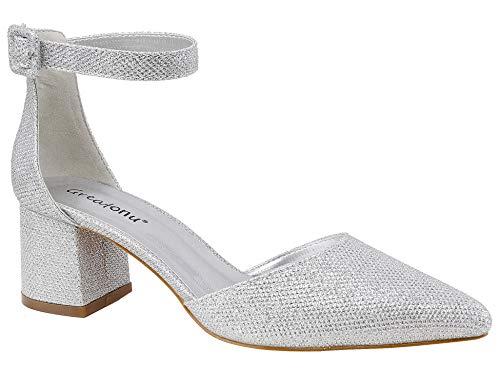 Greatonu Zapatos de Tacón Ancho Suede Modo Clásico con Hebillas Plateado para Mujer Tamaño 41 EU
