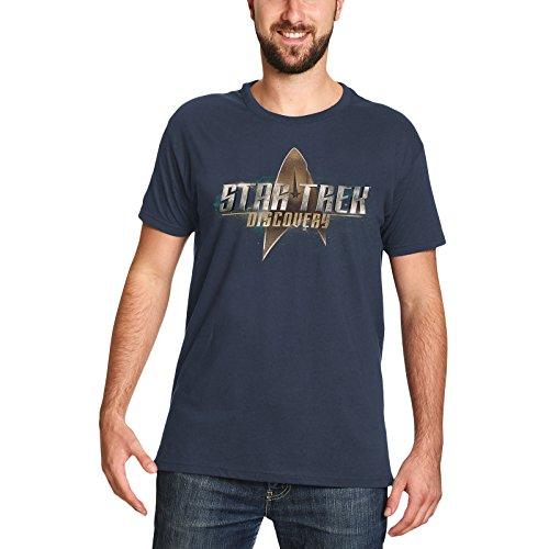 (Star Trek Herren T-Shirt Discovery Logo Baumwolle blau - XXL)