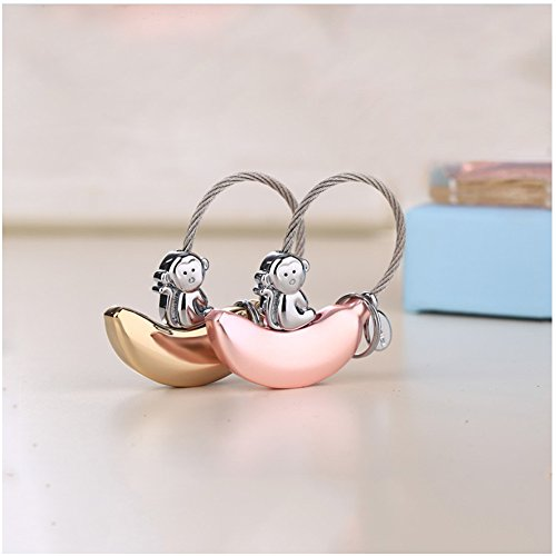 Schlüsselanhänger [2 Stück] Ein Paar Banane&Affe Schlüsselbänder Glücksbringer kleeblatt Tier Schlüsselring